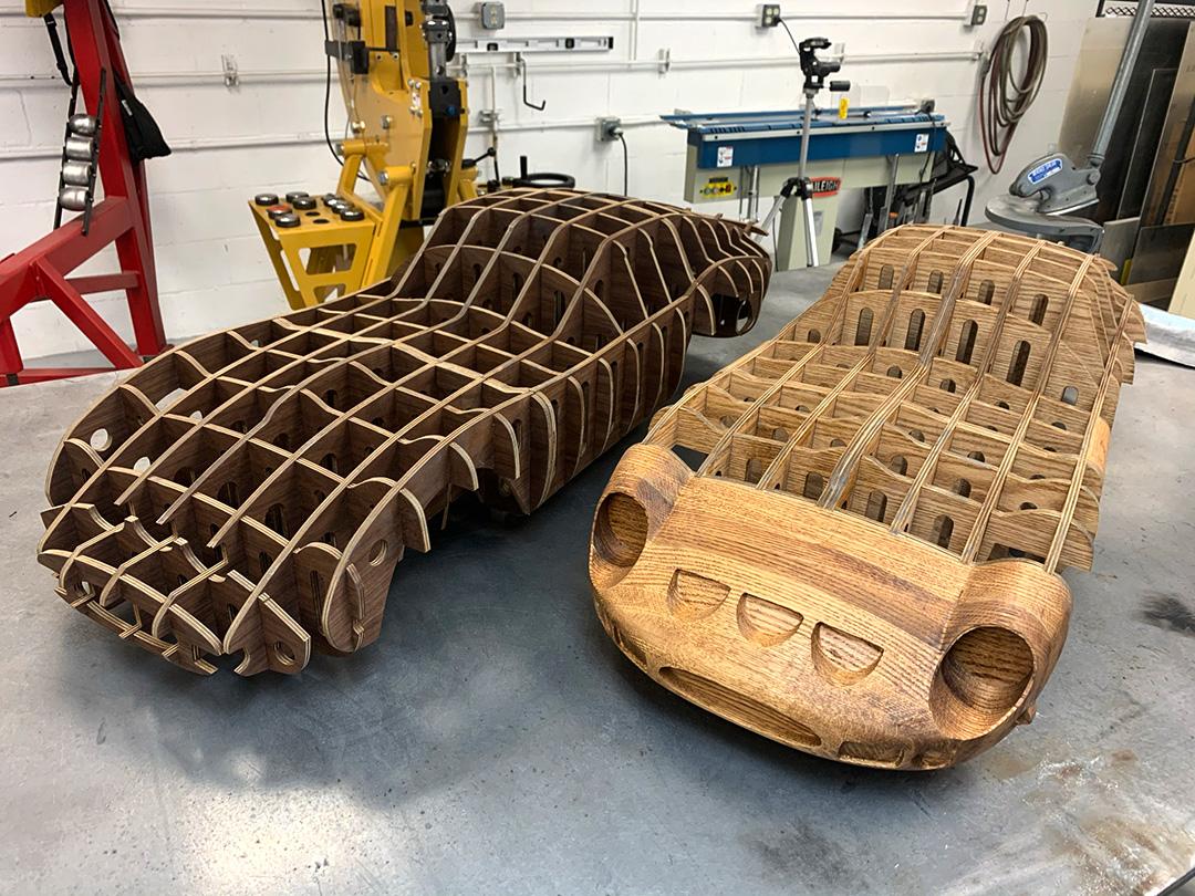 Ferrari 250 GTO wooden buck sculpture